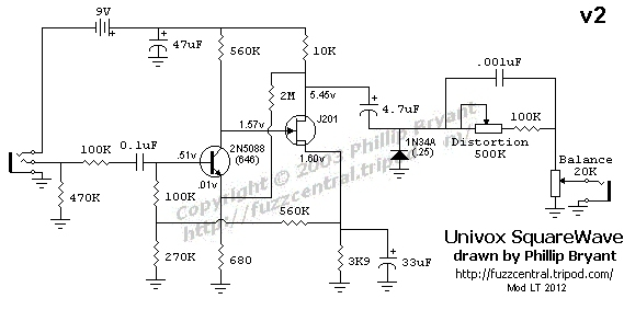 univox square wave fuzz build rh diystompboxes com 3-Way Switch Wiring Diagram Residential Electrical Wiring Diagrams
