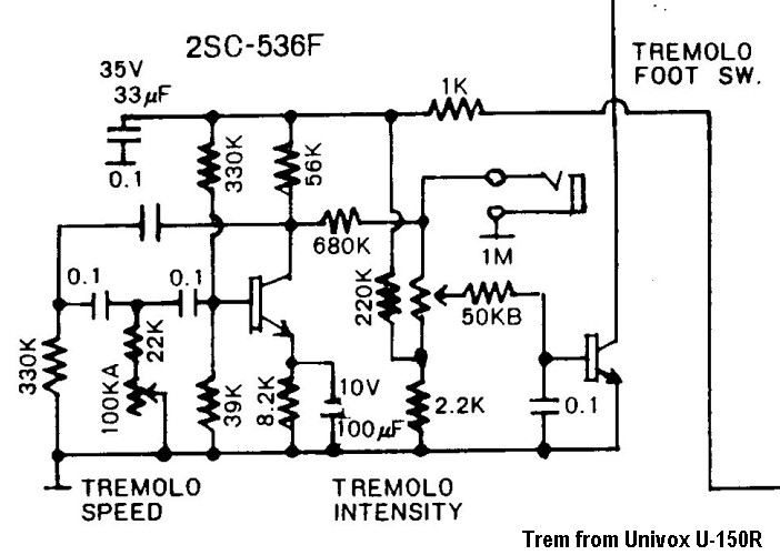 Univox U150r on tremolo circuit schematic